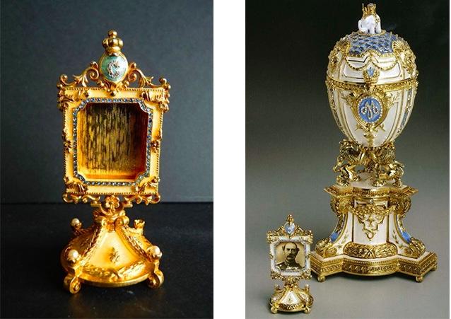 Links: Fabergé Imperial - Bilderrahmen aus der Danish Jubilee Egg-Collection, 1990er Jahre Rechts: Das Königlich-dänische Ei von Fabergé, 1903 | Foto: Pinterest