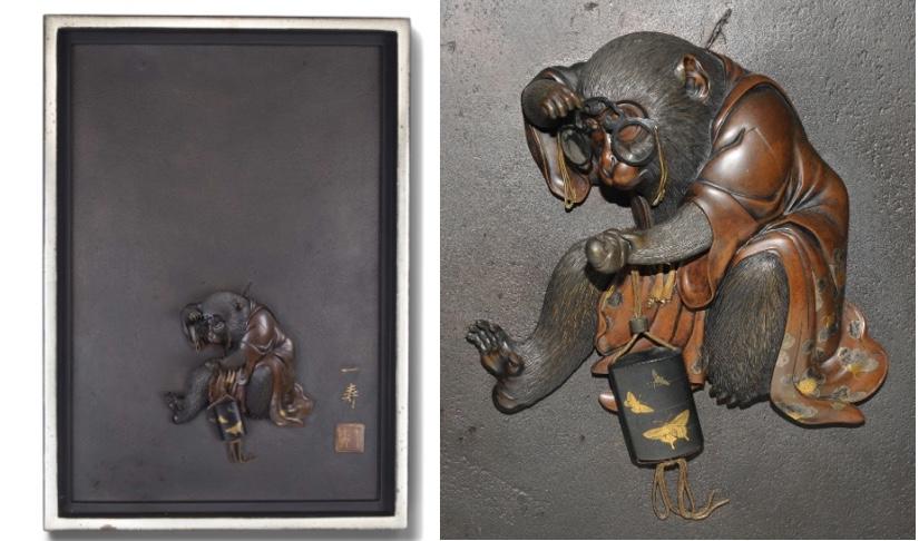 Bronzetafel mit applizierter Affen-Figur, signiert und gesiegelt, Japan, Meiji-Zeit (1868-1912)