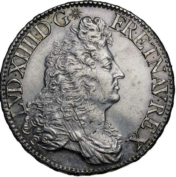 """Louis XIV Écu dit """"au buste drapé à l'antique"""" 1686"""