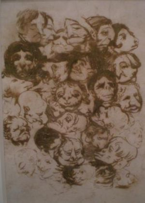 Le dessin 'Caricatures de têtes'.  Image ARTCLAIM