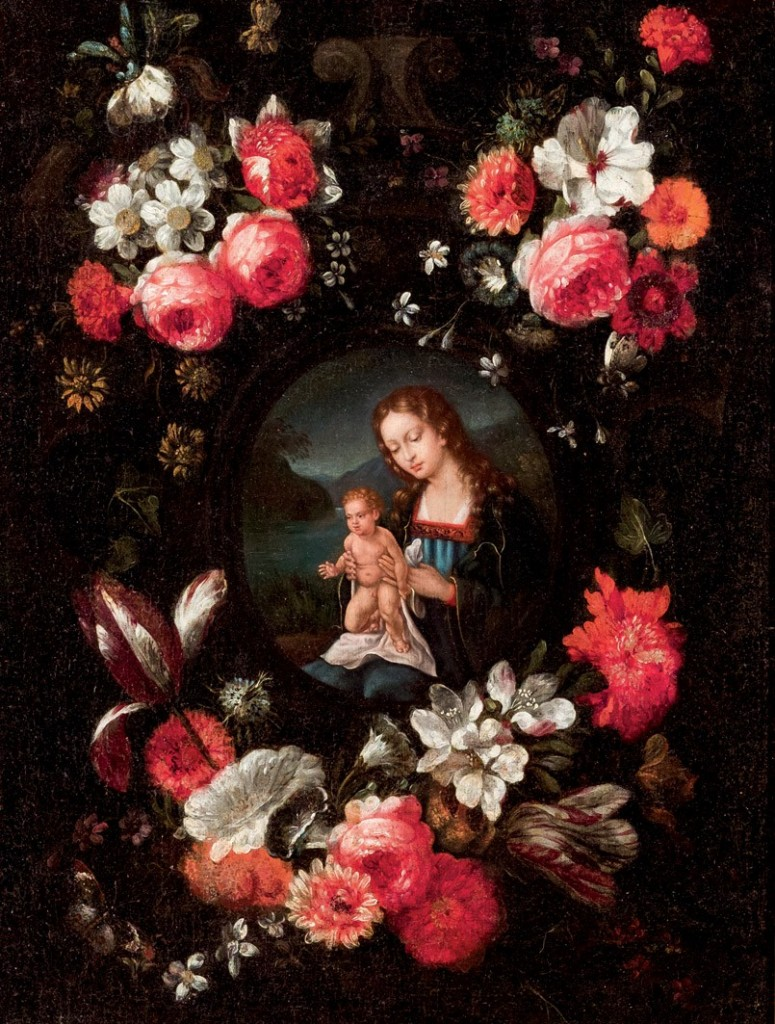 Spanische Schule des 17. Jhs. - Virgen con Niño y corona de flores, Öl/Lwd.
