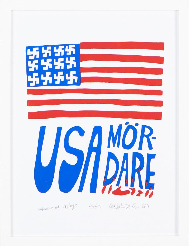 """Carl-Johan De Geers """"USA mördare"""", färgserigrafi. Via Stockholms Auktionsverk."""