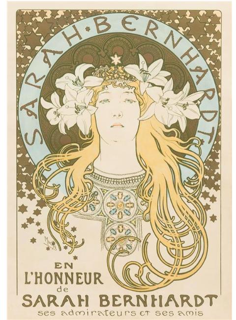 Alphonse Mucha (Czech, 1860-1939) Sarah Bernhardt (La plume), 1896 color lithograph; F. Champenois, Paris. Low estimate: 3 000 USD. Leslie Hindman Auctioneers.