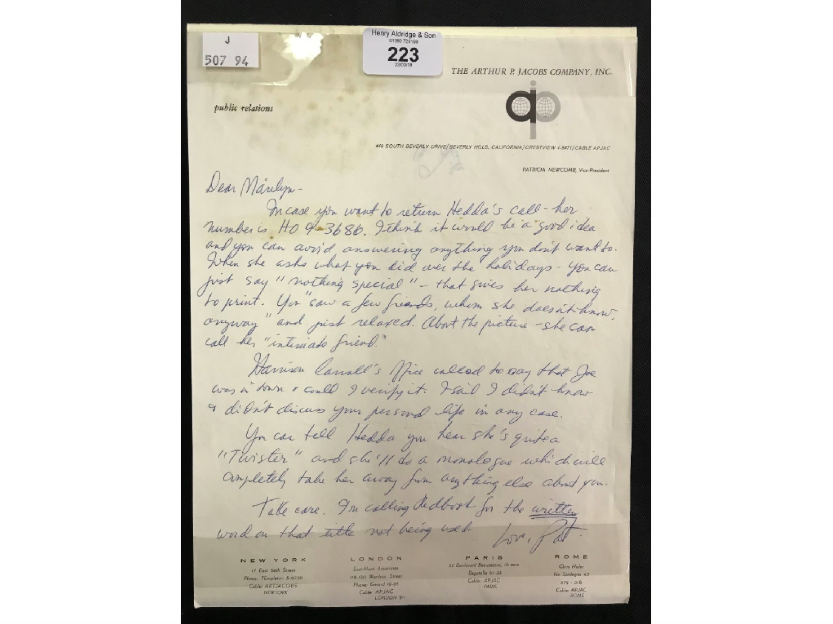 Marilyn Monroe letter received from Pat Newcomb, circa 1960. Photo: Henry Aldridge & Son