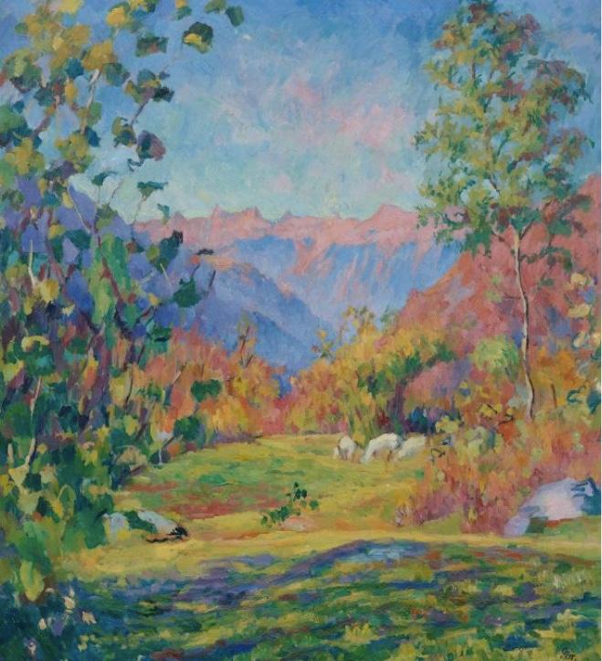 GIOVANNI GIACOMETTI (Stampa 1868 - 1933 Glion) - Herbstmorgen, Öl/Lwd., 100 x 90 cm, bezeichnet, monogrammiert, signiert und datiert, 1921 Schätzpreis: 250.000-350.000 CHF (231.480-324.070 EUR)