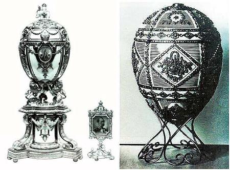 Av de försvunna äggen är det endast två som finns fotograferade. Till höger ser vi Royal Danish och till vänster Alexander III Commemorative.