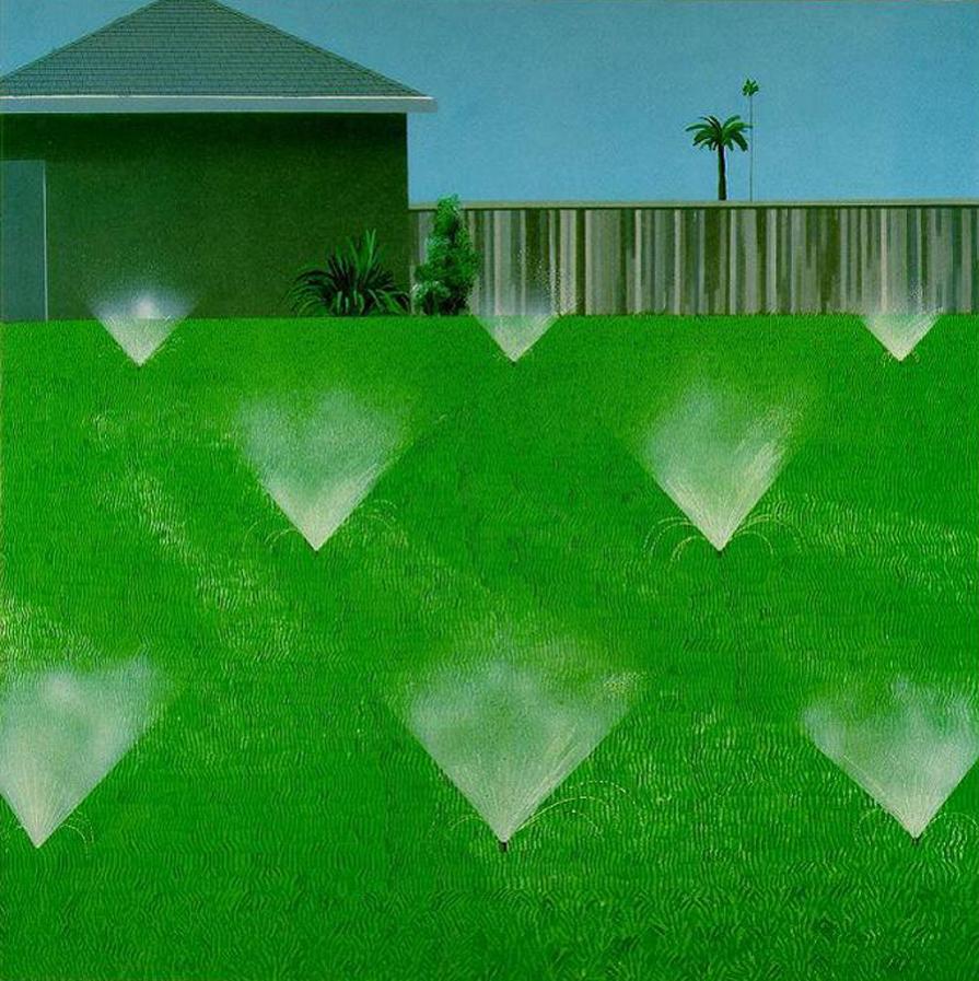 David Hockney, A lawn being sprinkled, 1967, image via Pinterest