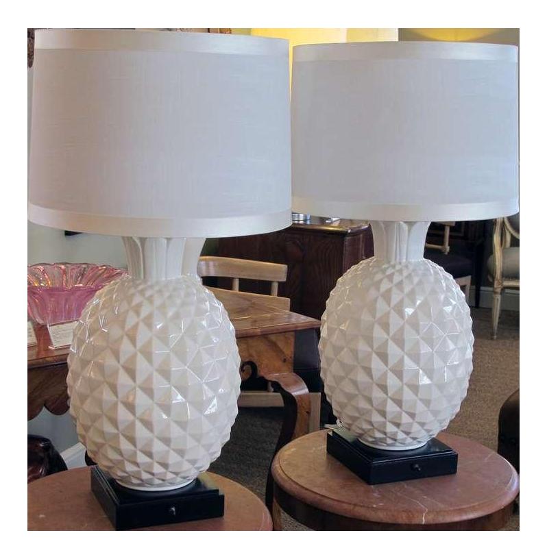 Paire de lampes ananas en céramiques, années 1960 DECASO