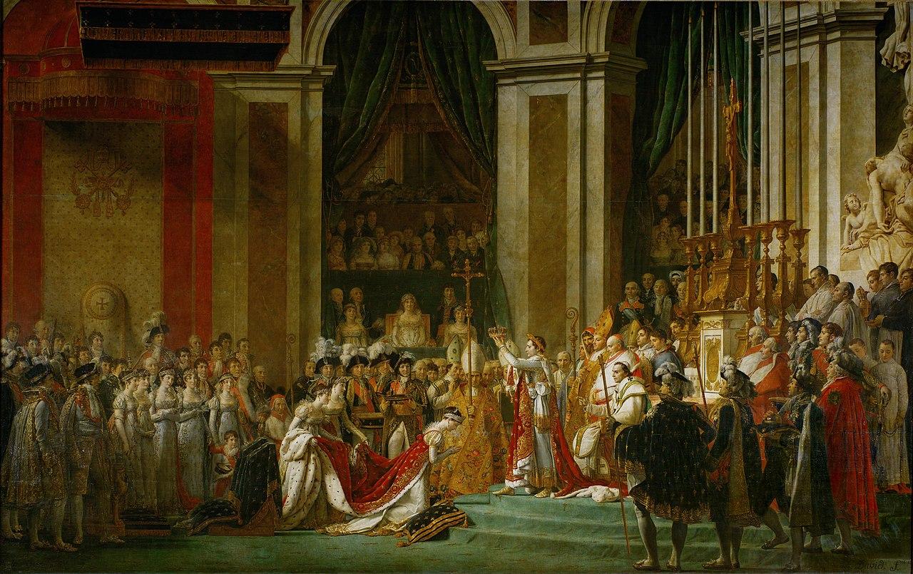 Le Sacre de Napoléon, Jacques-Louis David. 1805-1807, huile sur toile, image via Wiki Commons