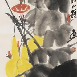齊白石(1864-1957)DRAGONFLY ON MORNING GLORY AND GOURDS 圖片取自: Barnebys.hk