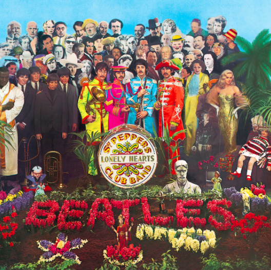 Peter Blake's design for the cover of the Beatles' Sgt. Pepper's Lonely Hearts Club