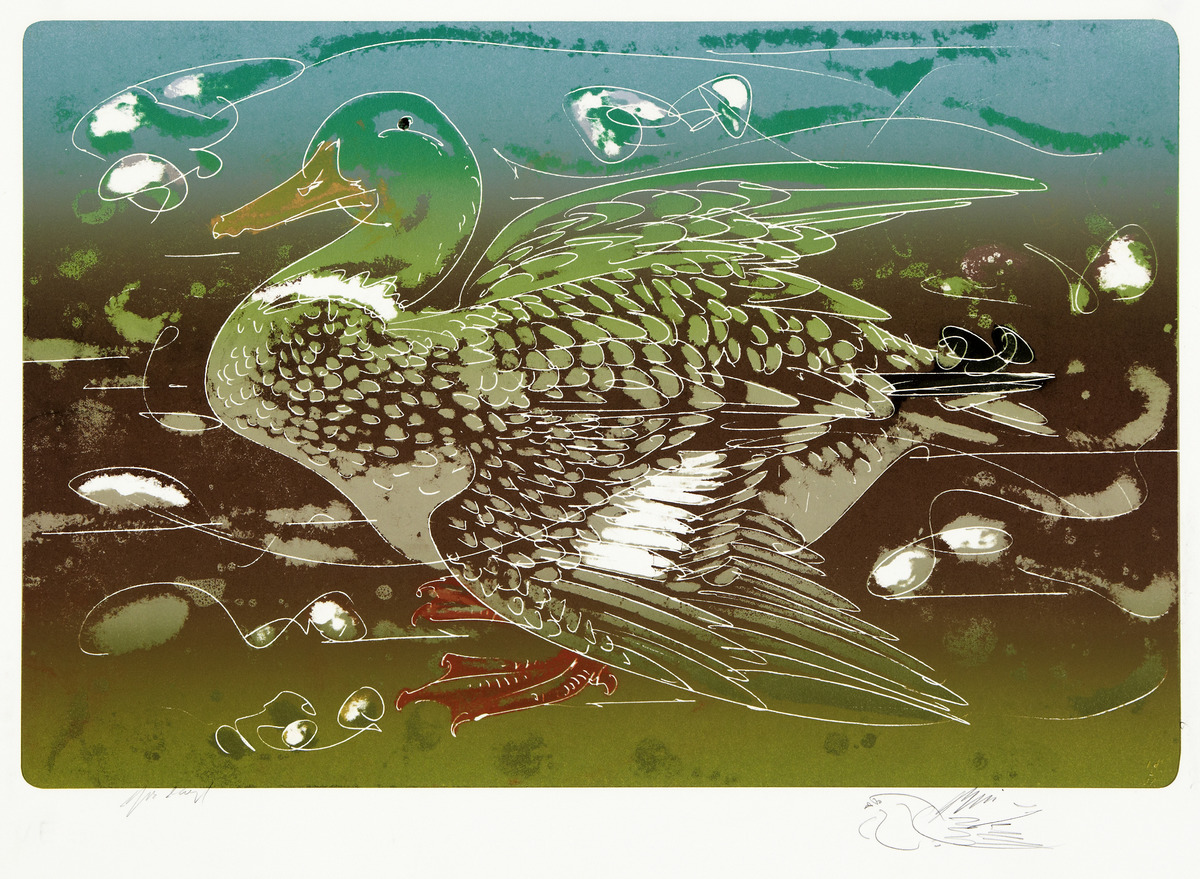 HANS ERNI (1909 Luzern 2015) - Ente, Farblithografie/Bütten, Künstlerexemplar, signiert