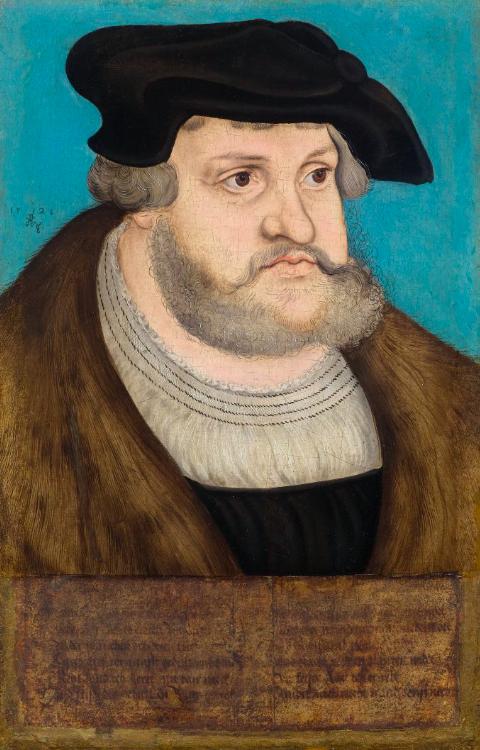 LUCAS CRANACH EL VIEJO y taller. Retrato del elector sajón Federico el Sabio (1528). Imagen vía: Koller