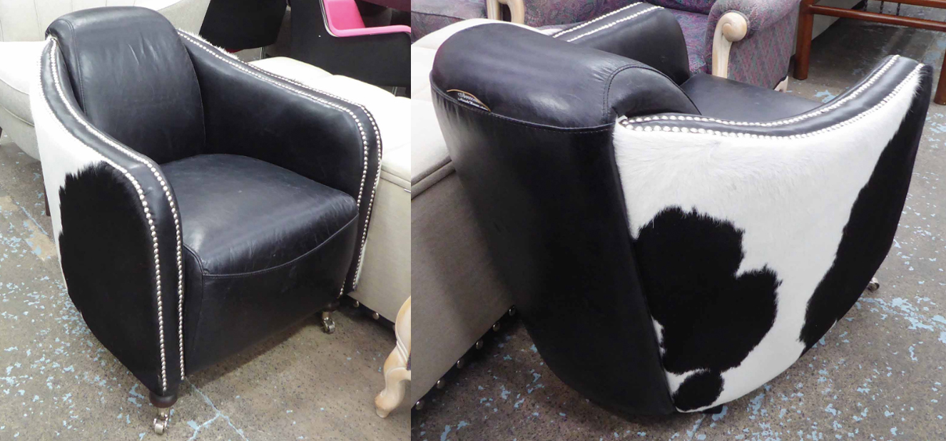Pair of Cowhide Armchairs. Photo: Lots Road