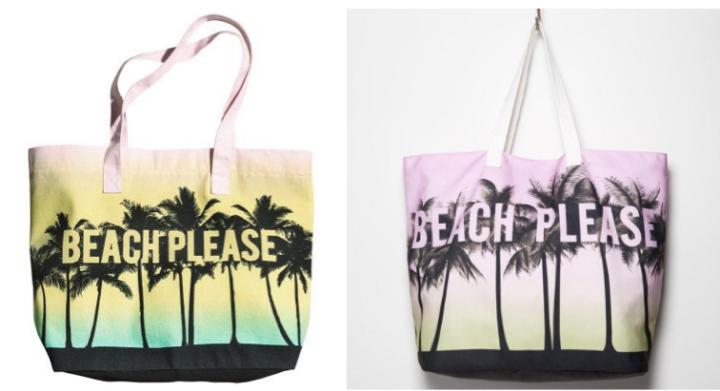 """Les sacs en toile """"Beach Please"""" de H&M et Forever 21 Image via fashionmag.com"""