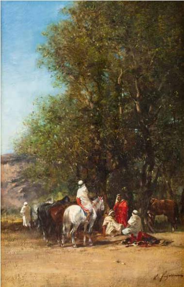 Lot 16 Victor Huguet Chamelier cueillant des figues Huile sur toile, signée en bas à droite. 105 x 81 cm Estimation: 15000/20000€
