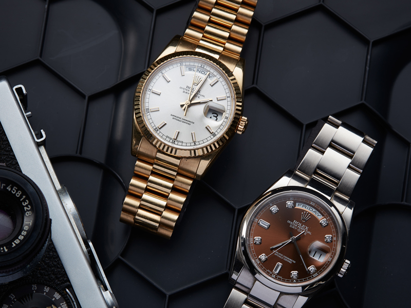 Double team Rolex Day-Date, LOT2(left): 118238, Serial no. Z709311, Cal 3135, 18K gold, Ref no. 83208-EO7 and LOT116(right), Ref no. 118209, Cal 3155(photo:kaplans.se)