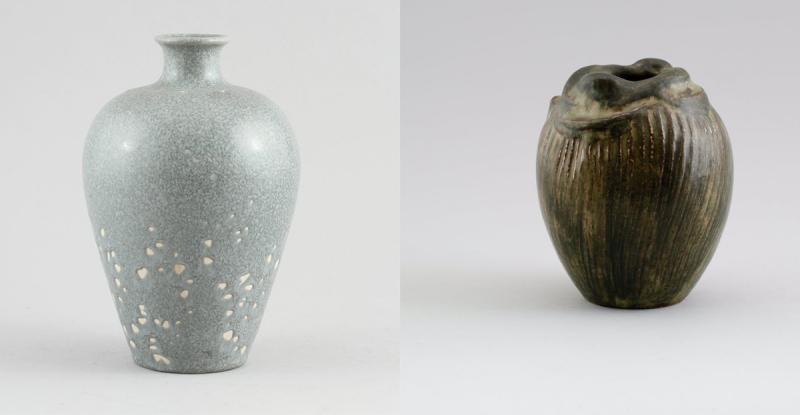 Links: Erich und Ingrid Triller Tobo Rechts: Vase von Axel Salto   Fotos: Bukowskis