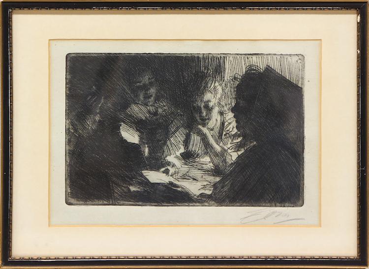 """Anders Zorn. """"Nya visan"""". Etsning, plåtstorlek 15 x 23 cm. Utförd 1903. Signerad i blyerts. Utrop: 4000 SEK Auktionsbyrån Effecta"""