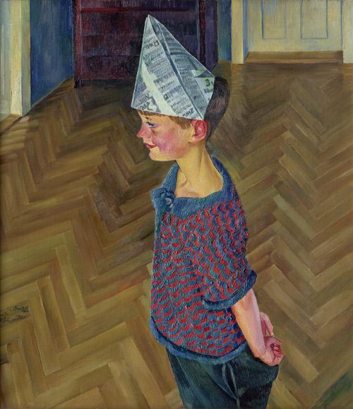 CONRAD FELIXMÜLLER (1897-1977) - Luca im Papierhut, Öl/Lwd., 85 x 75 cm, bezeichnet, signiert und datiert, 1926 Schätzpreis: 80.000 EUR