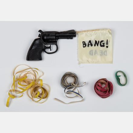 Karen Kilimnik, Bang You're Dead, Gun with Flag and Streamers