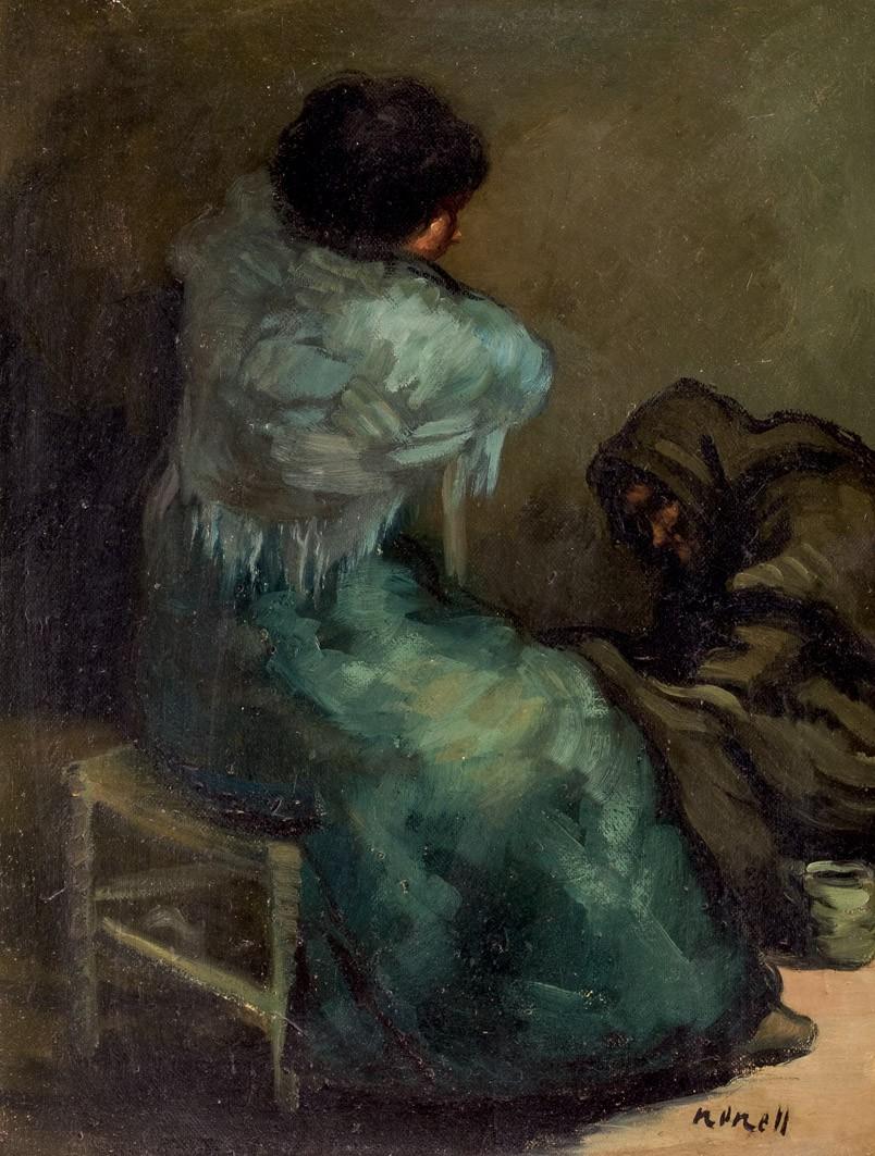 ISIDRO NONELL (1872 Barcelona 1911) - Malos Consejos, Öl/Karton, signiert, um 1903
