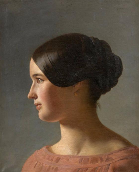 Ecole française vers 1840 Portrait de femme de profil Artcurial