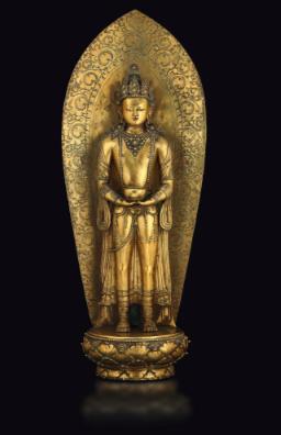 Grande et rare figure en bronze doré d'Amitayus, Zanabazar, Mongolie, XVIIe siècle