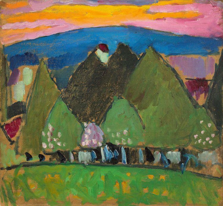 """Alexej von Jawlensky. """"Landschaft mit Bäumen"""". Circa 1909. Oil on artist's board. Precio mínimo estimado: 350 000 EUR.  Grisebach"""