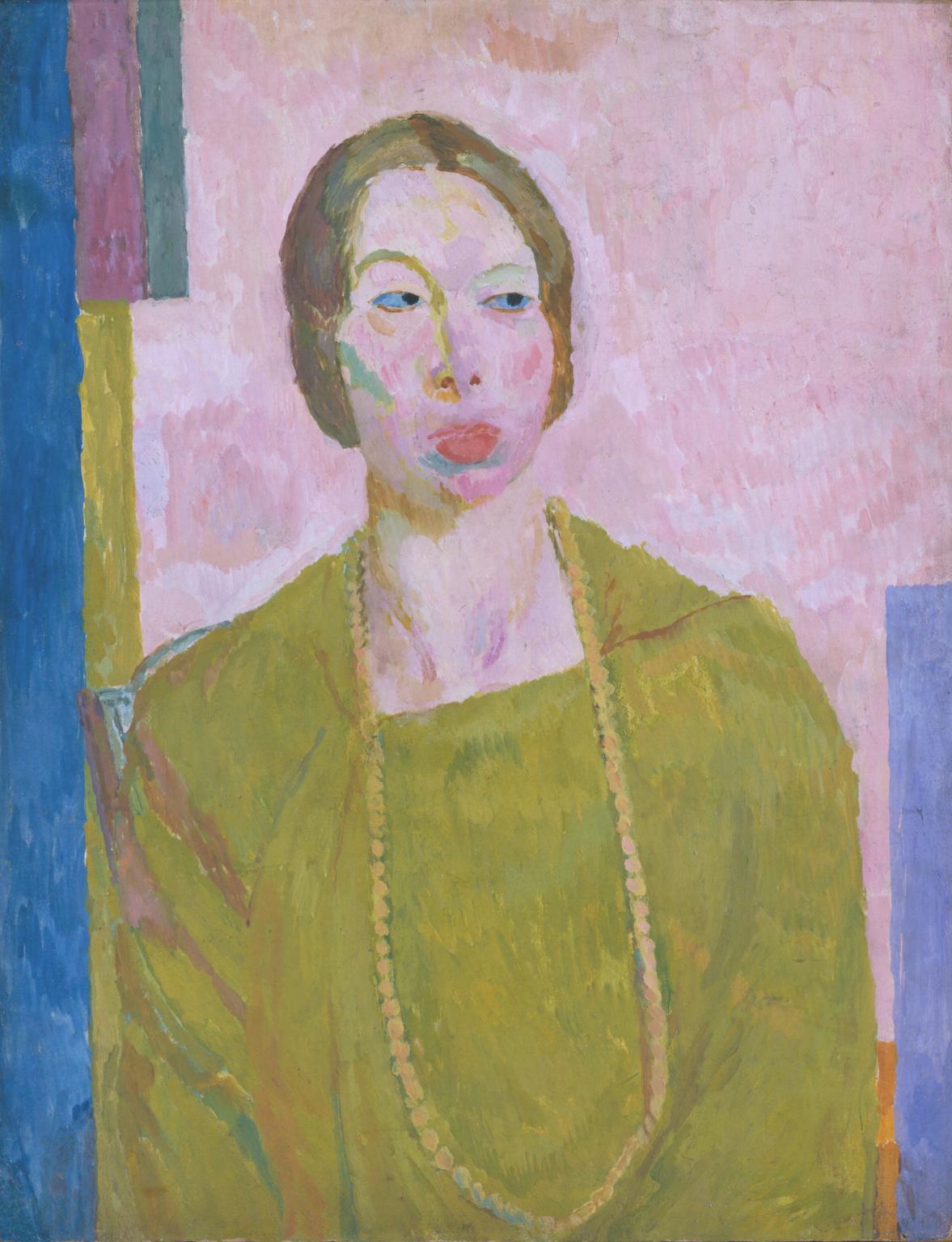 Mrs St John Hutchinson 1915 av Vanessa Bell. Novellförfattaren Mary Hutchingson hade en affär med Bells man Clive, något som Bell var fullt medveten om. Kanske förklarar det detta osmickrande porträtt. När det, till modellens förtret, ställdes ut skrev Vanessa Bell 'It's perfectly hideous…and yet quite recognisable'. Bild: Tate