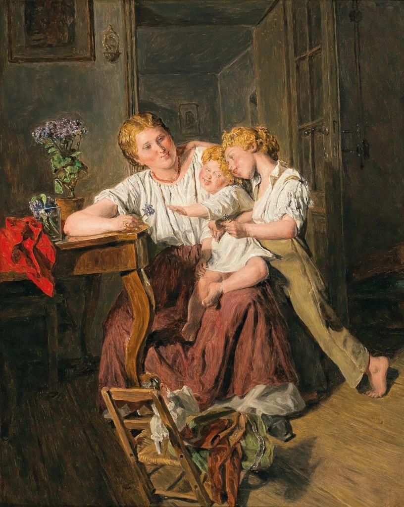FERDINAND GEORG WALDMÜLLER (1793 Wien - 1865 Hinterbrühl) - Kinderzärtlichkeit, Öl/Holz, signiert und datiert, 1863