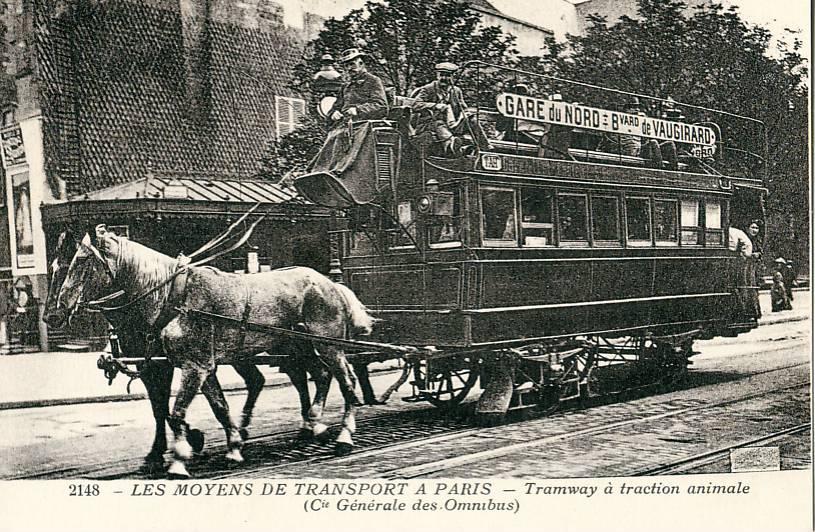 Ein Wagen der Compagnie générale des omnibus in Paris