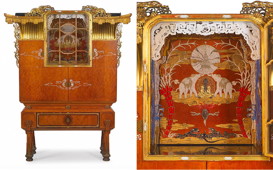 Wilhelm Hejda, Unusual Art Deco Showcase in the Japonaism Style, signed and dated, Vienna 1924 | Photos: © Dorotheum