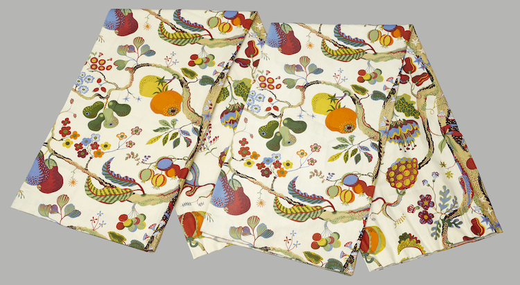 """Linen curtains """"Vegetable Tree"""" by Josef Frank for Svenskt Tenn. They have an estimate of $230 at Uppsala Auktionskammare"""