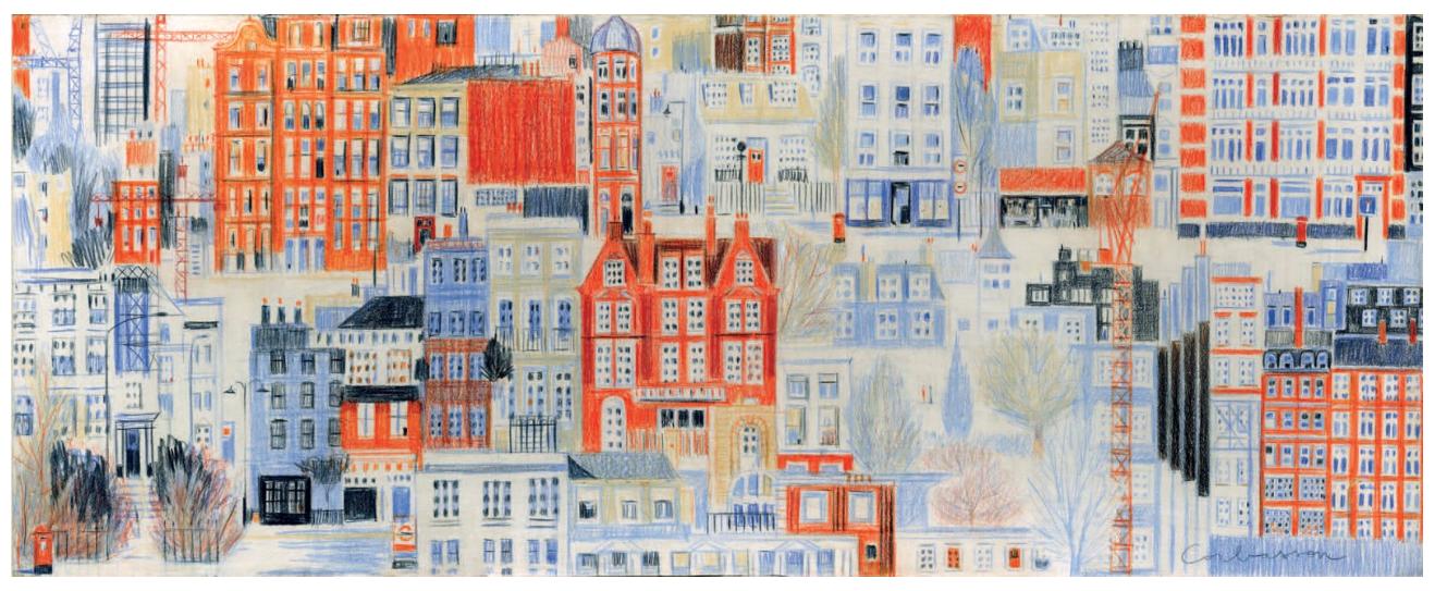 """Dominique Corbasson 1958, """"Londres"""" Crayons de couleur sur papier"""