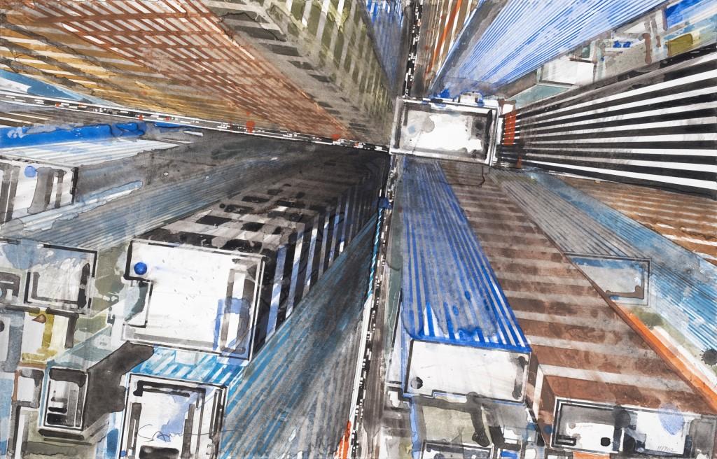 Gottfried Salzmann, « Crossroads », aquarelle sur papier, 30 x 47cm, 2017