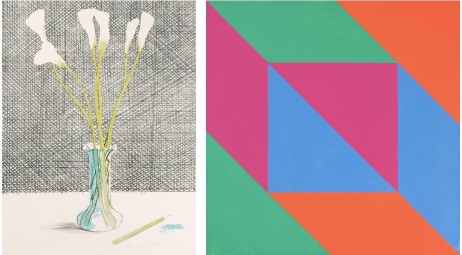 """Links: DAVID HOCKNEY (Bradford 1937) - """"Lilies"""", Farblithographie, 32/65, signiert und datiert, 1971 Rechts: MAX BILL (Winterthur 1908–1994 Berlin) - """"Vier Farben gleicher Menge"""", Öl/Lwd., signiert und datiert, 1970/72"""