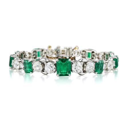 J. E. Cadwell Emerald Diamond Bracelet. Photo: Fortuna