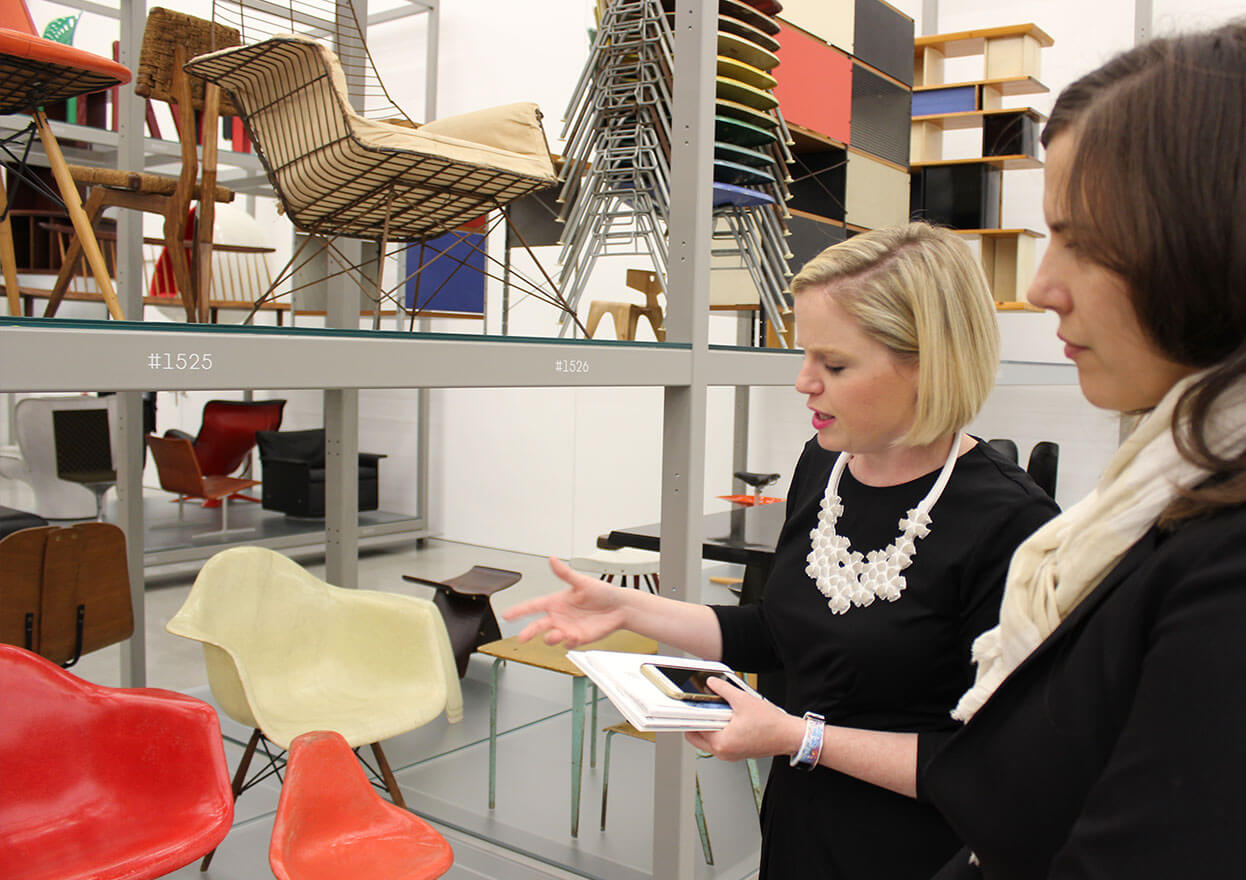 Jennifer Klos leading a collector through furniture design. Image: Collector House