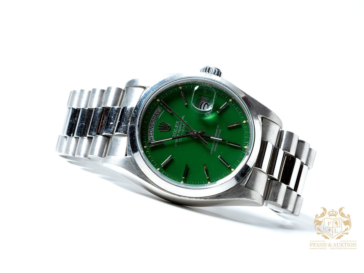 Rolex Day-Date platinum with green Stella dial, ca. 1978