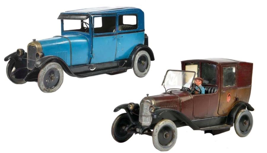 Hinten: Andre Citroen Limousine, Blech   Vorne: Citroen Taxi B12, Blech