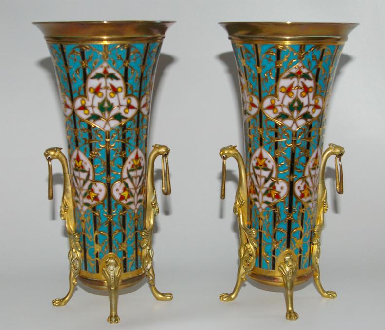 BESKRIVNING: F. Barbedienne 2 st vaser inköpta på loppmarknad i Paris 1950-52