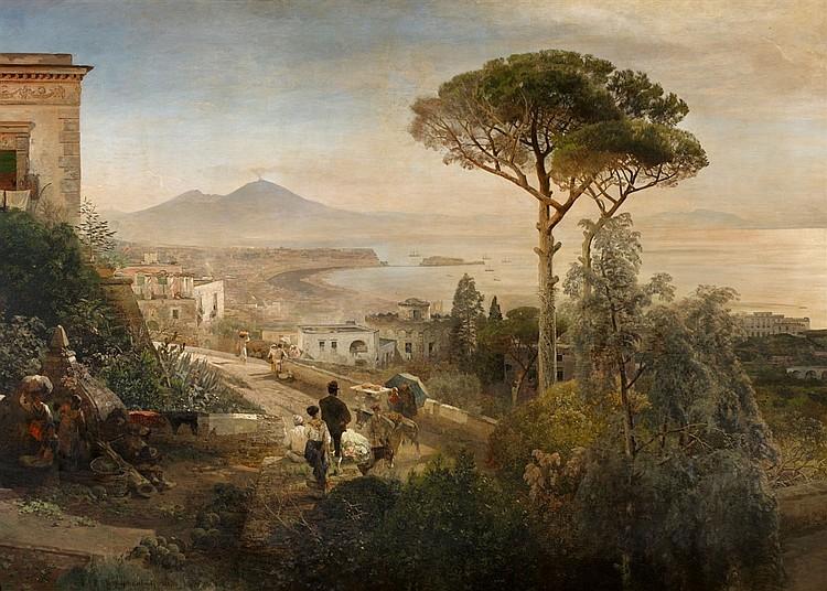 Oswald Achenbach, Paysage côtier sur la baie de Naples