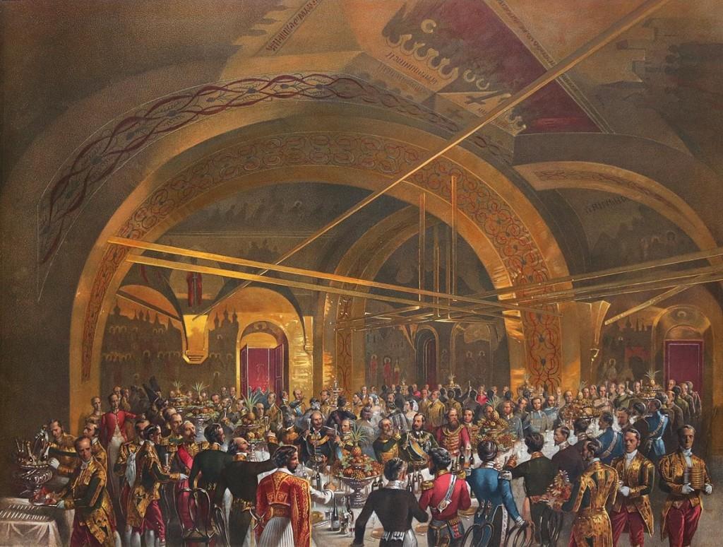 Im Festsaal des Facettenpalastes wurde das Krönungsbankett mit dem Zarenpaar, der kaiserlichen Familie und hohen geistlichen und weltlichen Würdenträgern abgehalten