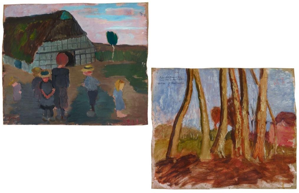 PAULA MODERSOHN-BECKER (1876 Dresden - 1907 Worpswede) - Kinder vor Bauernhaus / Birkenstämme und Haus, Öl/MK, monogrammiert und datiert, 1901