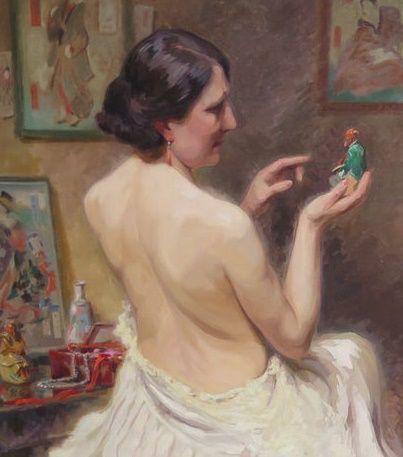 LOUIS VAN DEN EYNDE (1881-1966) - Halvnaken kvinna, olja, 81 x 108 cm, signerad. Startpris: 17 000 - 22 800. Auktionen avslutas den 14 augusti klockan 20.00.