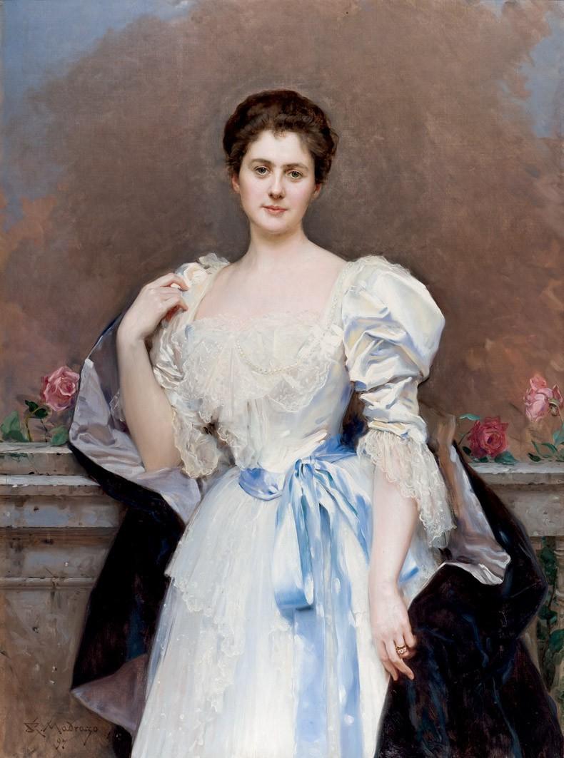 RAIMUNDO DE MADRAZO (1840-1920) - Mrs. Oliver Gould Jennings, Öl/Lwd., signiert und datiert, 1897