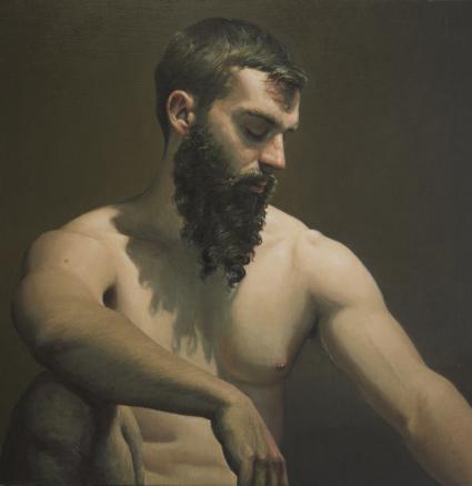 EDGAR SAILLEN (1969) Arthur Huile sur toile signée Dim. : 100 x 100 cm Estimation : 4 000 / 5 000 €