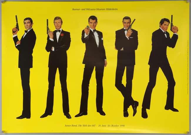 James Bond Hildesheim Exhibition (1998) Original German exhibition poster (yellow background) designed by Robert McGinnis for the James Bond exhibition at the Roemer und Pelizaeus Museum in Hildesheim