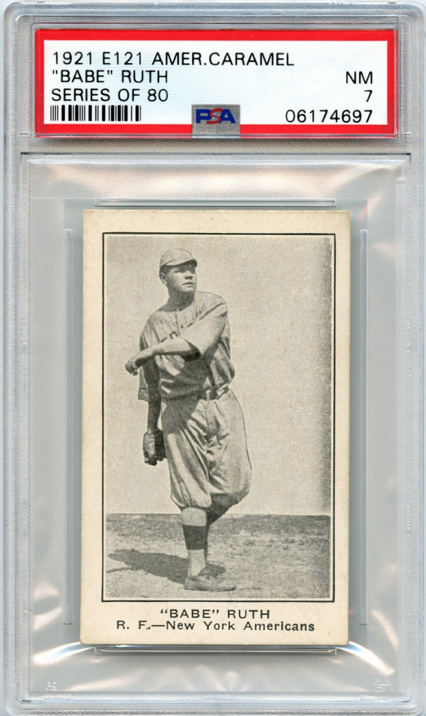 A 1921 E121 American Caramel Babe Ruth card. Foto: Small Traditions.